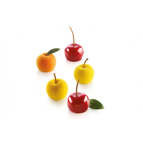 Silikomart Mini Cherry Peach MELA, CILIEGIA & PESCA 30 Single Part Silicone Mold Set - Ø 39 x 30 mm - 15 Cavity - 30 ml