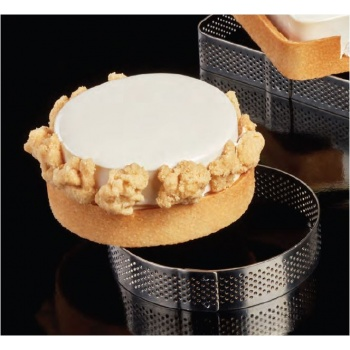 Microperforated Stainless Steel Round Tart Rings Height: 3/4'' Diam: 3.54'' - 9 cm