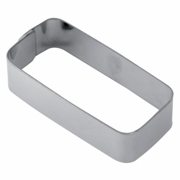 Stainless Steel Rectangular Rounded Corners Tart Rings Height: 3/4'' - 78 x 36.5 x 20 mm