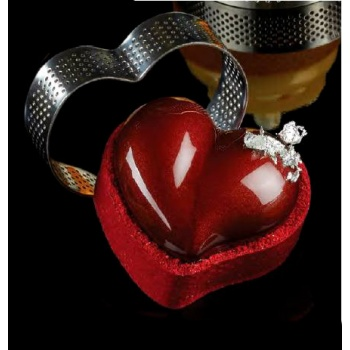 Microperforated Stainless Steel Heart Individual Tart Rings Height: 3/4'' - 74 x 62 x 20 mm