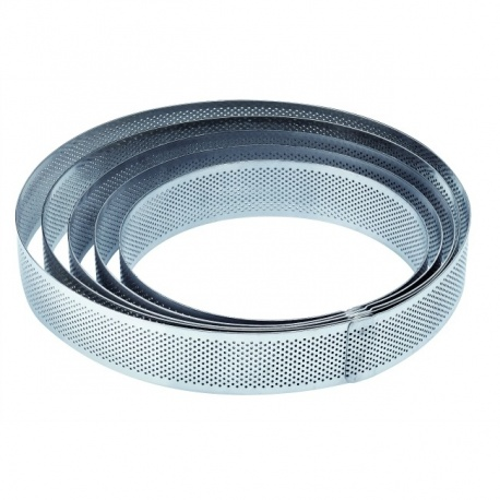 Microperforated Stainless Steel Deep High Round Tart Ring - Ø 17 cm