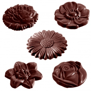 Polycarbonate Chocolate Flower Caraque Mold 45 x 7 mm - 15 Cavity - 10 gr