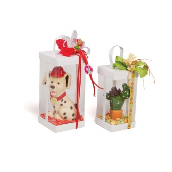 Deluxe Glossy White and Clear Plastic Chocolate Tree, Egg Box Packaging - Pack of 24 - 100 x 100 x 210 mm