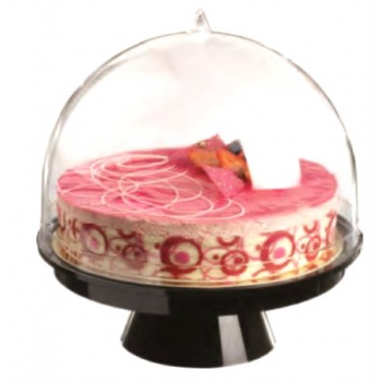 Clear Plastic Pastry Cake Dome Display Ø 260mm x 280 mm High - Black Base - One Piece