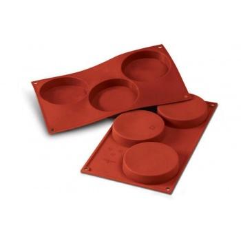 Silikomart Round Flat Sponge Base Cylinder Silicone Molds - Ø 103 x 20 mm   - 3 Cavity