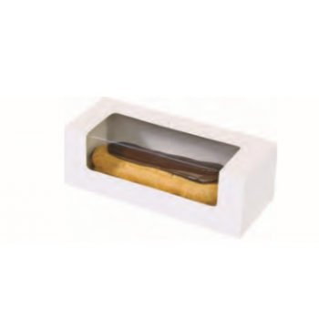 White Pastry Box With Window - Eclair Macaron Box - 15cm x 5cm x 5cm - Pack of 50