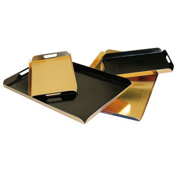 Gold and Black Folded Tray - Cardboard - 42cm x 28cm - Pack of 25