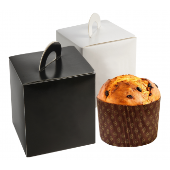 White Box with handle for Pastries Boite a Panetone - 18 x 18 x 20 cm - 25pcs