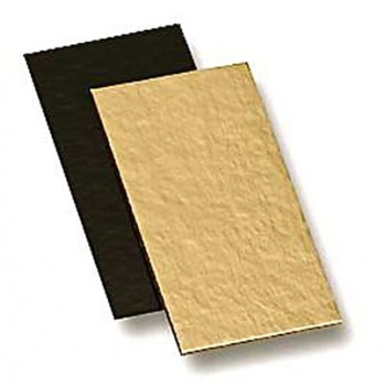 Deluxe Gold / Black Thick Rectangular Log Cake Board - 10 x 5cm - Pack of 200