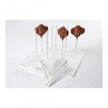 Lollipop Stand - Transparent Solid Plexiglass - 180x180x8mm - 16 holes 3,9mm diameter holes