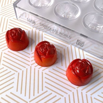 Polycarbonate Chocolate Mold Flower - 28x20mm - 12gr - 4x8 cavity layout