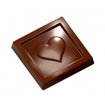 Polycarbonate Caraque Heart Chocolate Mold - 31x31x5mm - 5gr - 3x7 cavity layout