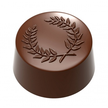 Polycarbonate Round Praline Laurel Wreath Chocolate Mold - 31x31x16mm - 13gr - 3x7 cavity layout