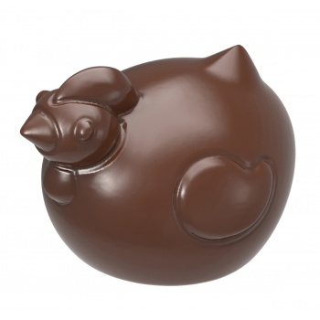 Polycarbonate Glossy Chocolate Chicken Hen Mold 37x27x15 mm -  4x6 Cavity - 2x7 gr - 275x175x24mm