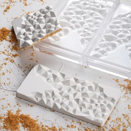 Polycarbonate Chocolate Bar Mold - 156x77x8 mm - 3 pcs - 93 gr - 275x175x24 mm