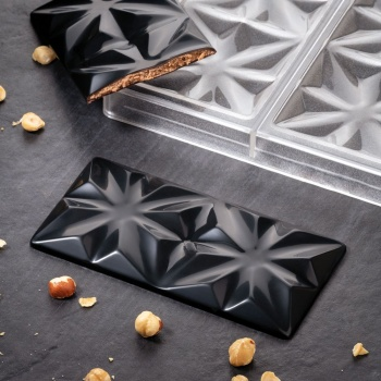 Polycarbonate Chocolate Bar Mold EDELWEISS by Vincent Vallee - 155 x 77 x 10 mm - 3 pcs - 100 gr - 275 x 175 x 24 mm