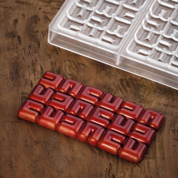 Polycarbonate Chocolate Bar Mold OLA by Fabrizio Fiorani - 155 x 77 x 10 mm - 3 pcs - 100 gr - 275 x 175 x 24 mm
