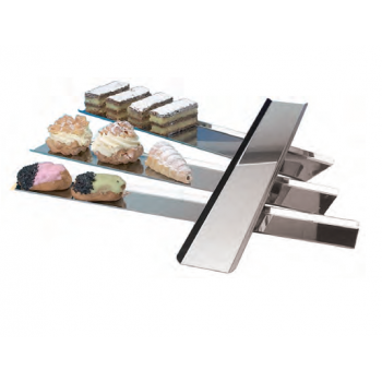 Stainless Steel Long Rectangle Display Tray for Pastries and Chocolates - 130 x 600 mm
