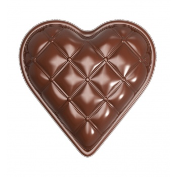 Polycarbonate Heart Chocolate Mold -  Chesterfield - 33 x 33 x 10 mm - 5gr - 18 Cavity - 275x135x24mm