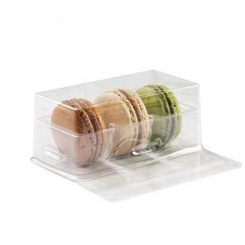 Clear Plastic Macarons Storage and Gift Boxes - Clear Base - 3 Macarons - Pack of 60