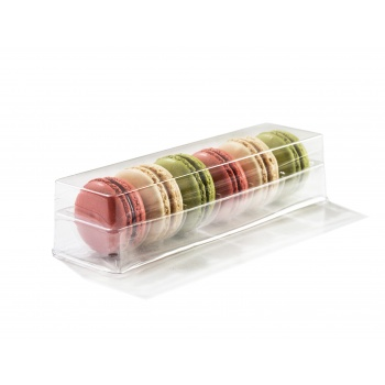 Clear Plastic Macarons Storage and Gift Boxes - Clear Base - 6 Macarons - Pack of 60