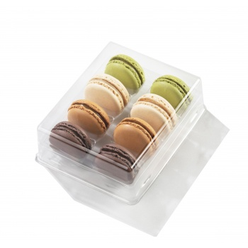 Clear Plastic Macarons Storage and Gift Boxes - Clear Base - 8 Macarons - Pack of 60