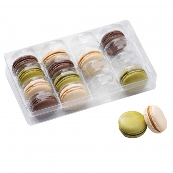 Clear Plastic Thermoformed Macarons Storage and Display Trays - 16 Macarons - Pack of 60