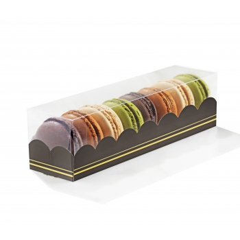 Clear Deluxe Plastic Macarons Gift Boxes Black Insert - 7 Macarons - 160 x 50 x 50 mm - Pack of 50