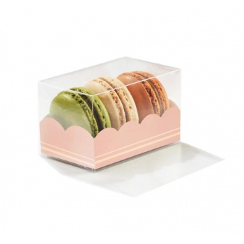 Clear Deluxe Plastic Macarons Gift Boxes Black Insert - 3 Macarons - Pack of 50