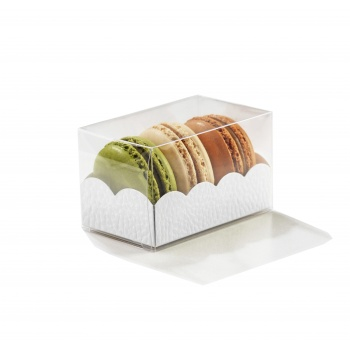 Clear Deluxe Plastic Macarons Gift Boxes White Leatherette  Insert - 3 Macarons - 80 x 50 x 50 mm - Pack of 50