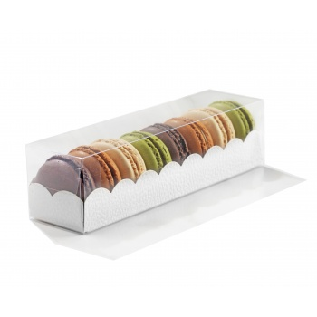 Clear Deluxe Plastic Macarons Gift Boxes White Leatherette Insert - 7 Macarons - 160 x 50 x 50 mm - Pack of 50