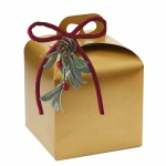 Deluxe Gold Leather Panettone  Carboard Box with handle  - 20 x 20 x 18 cm - 25 pcs -