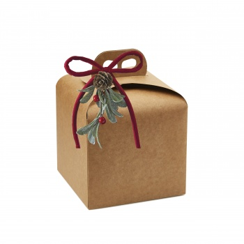 Deluxe Beige Kraft Panettone  Carboard Box with handle  - 16 x 16 x 14 cm - 25 pcs -