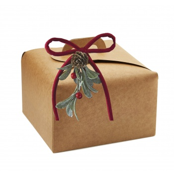 Deluxe Beige Kraft Panettone  Carboard Box with handle  - 24.5 x 24.5 x 13 cm - 25 pcs -