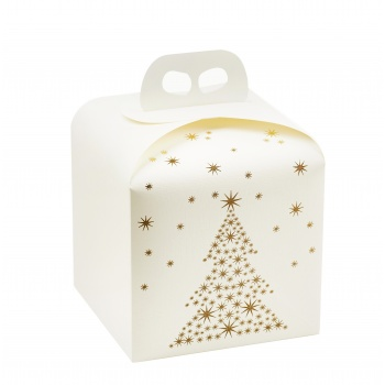 Deluxe White and Gold Holiday Tree Panettone  Carboard Box with handle  - 20 x 20 x 18 cm - 25 pcs -