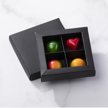 Matte Black Closed Frame with Clear Plastic Insert Chocolate Candy Boxes - Holds 4 Chocolates -  Pack of 24