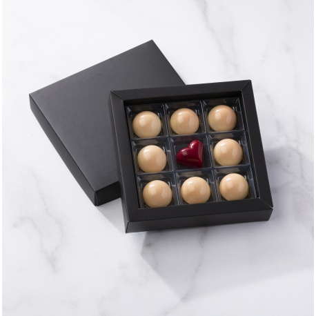 Matte Black Closed Frame with Clear Plastic Insert Chocolate Candy Boxes - Holds 9 Chocolates - Pack of 24