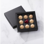 Matte Black Closed Frame with Clear Plastic Insert Chocolate Candy Boxes - Holds 9 Chocolates - Pack of 48