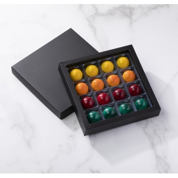 Matte Black Closed Frame with Clear Plastic Insert Chocolate Candy Boxes - Holds 16 Chocolates - Pack of 40