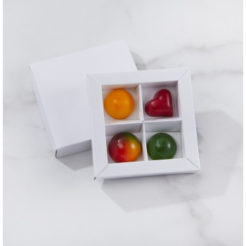 Matte White Closed Frame with Clear Plastic Insert Chocolate Candy Boxes - Holds 4 Chocolates -  Pack of 48