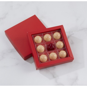 Matte Red Closed Frame with Clear Plastic Insert Chocolate Candy Boxes - Holds 9 Chocolates - Pack of 48