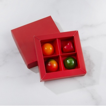 Matte Red Closed Frame with Clear Plastic Insert Chocolate Candy Boxes - Holds 4 Chocolates -  Pack of 48