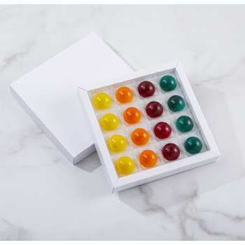 Matte White Closed Frame with Clear Plastic Insert Chocolate Candy Boxes - Holds 16 Chocolates - Pack of 40