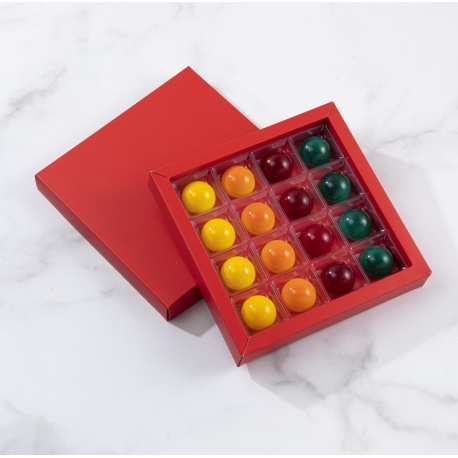 Matte Red Closed Frame with Clear Plastic Insert Chocolate Candy Boxes - Holds 16 Chocolates - Pack of 40