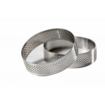 Stainless Steel Perforated Round Tart Rings  ø 8 cm  - 2 cm High