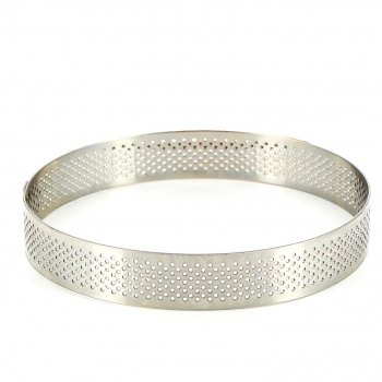 Stainless Steel Perforated Round Tart Rings  ø 18 cm  - 2 cm High