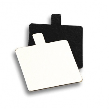 Square Monoportion Double Sided White / Black Cake Board 3.1''x3.1'' - 8 x 8 cm - 200 pcs
