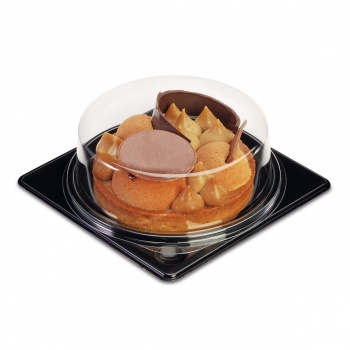 Clear Plastic Pastry Dome Display Ø 85 mm - Black Base - Pack of 30 pieces