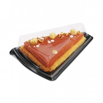 Triangle Clear Plastic / Tart Cheesecake Plastic Boxes - Black Base - 129 x 164 x 53 mm - Pack of 30 pieces