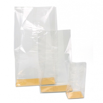 Clear Cellophane bags with Gold Base - Great for Chocolate Figures, Cakes, Loaves - 23 x 11 x 57 cm - Pack of 100